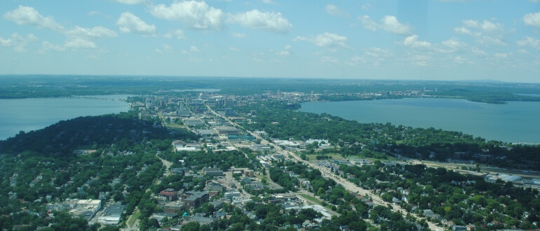 Aerial Isthmus, Photo by UW-Madison Water Sustainability and Climate Project