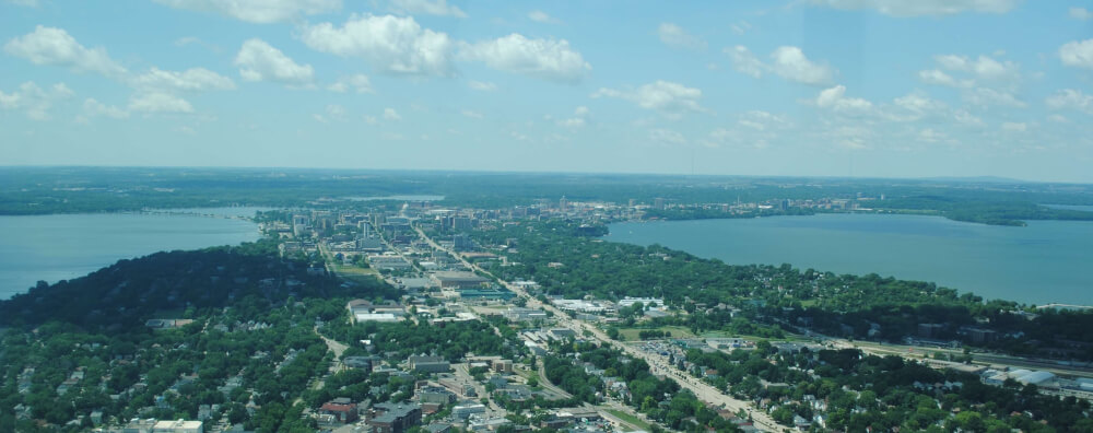 Aerial view of the isthmus