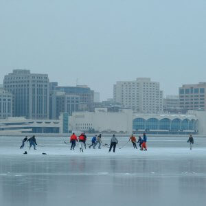 Hockey on Lake Monona