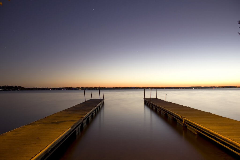 Lake Kegonsa State Park docks at dusk