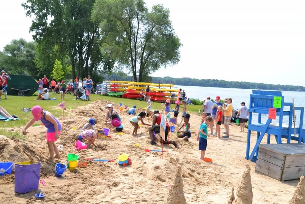 Beach with sand castles
