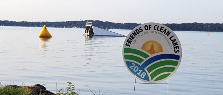 Friends of Clean Lakes sign at Shoreline Swim