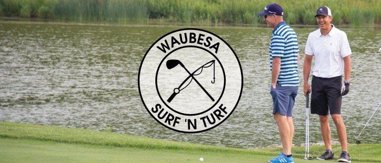 Waubesa Surf 'n Turf two men golfing near water