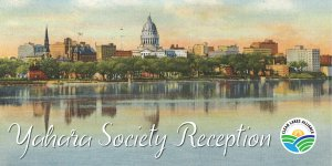 Yahara Society Reception over postcard of Madison and Lake Monona