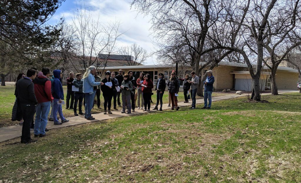 Touring burial mounds at Edgewood Campus with Larry Johns