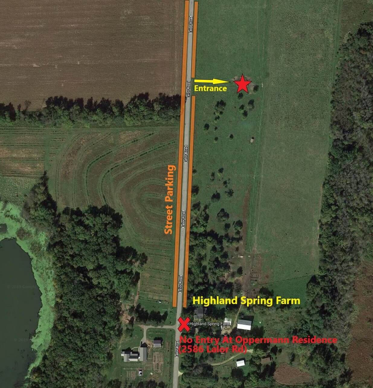 Meeting Location Map - Highland Spring Farm