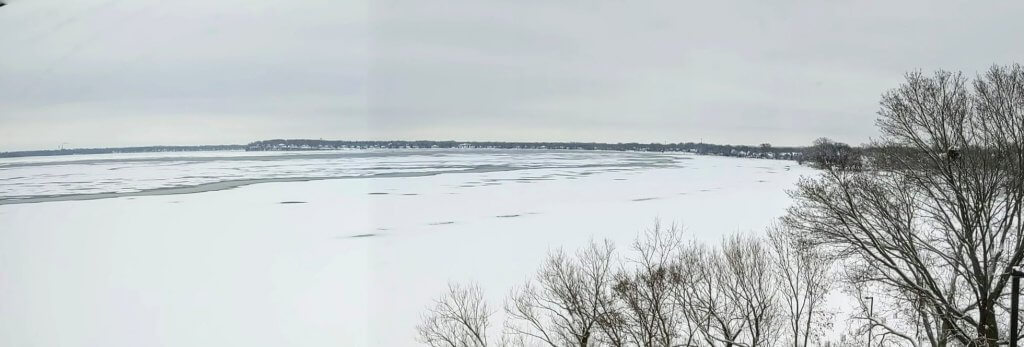 Panoramic Photo of Lake Mendota on 14 January 2020 - two days after Lake Mendota froze over