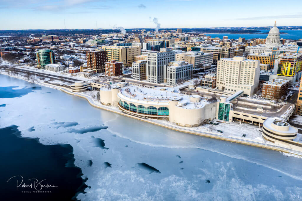 Downtown Madison as the ice on Lake Monona begins to freeze, courtesy of one of our photographers, Robert Bertera