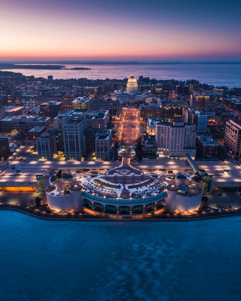 View of Madison's Isthmus in the winter, courtesy OVJPhotography