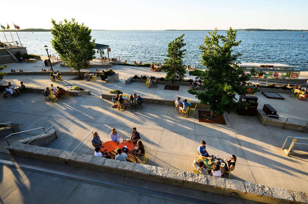 Social distancing at Memorial Union Terrace in 2020