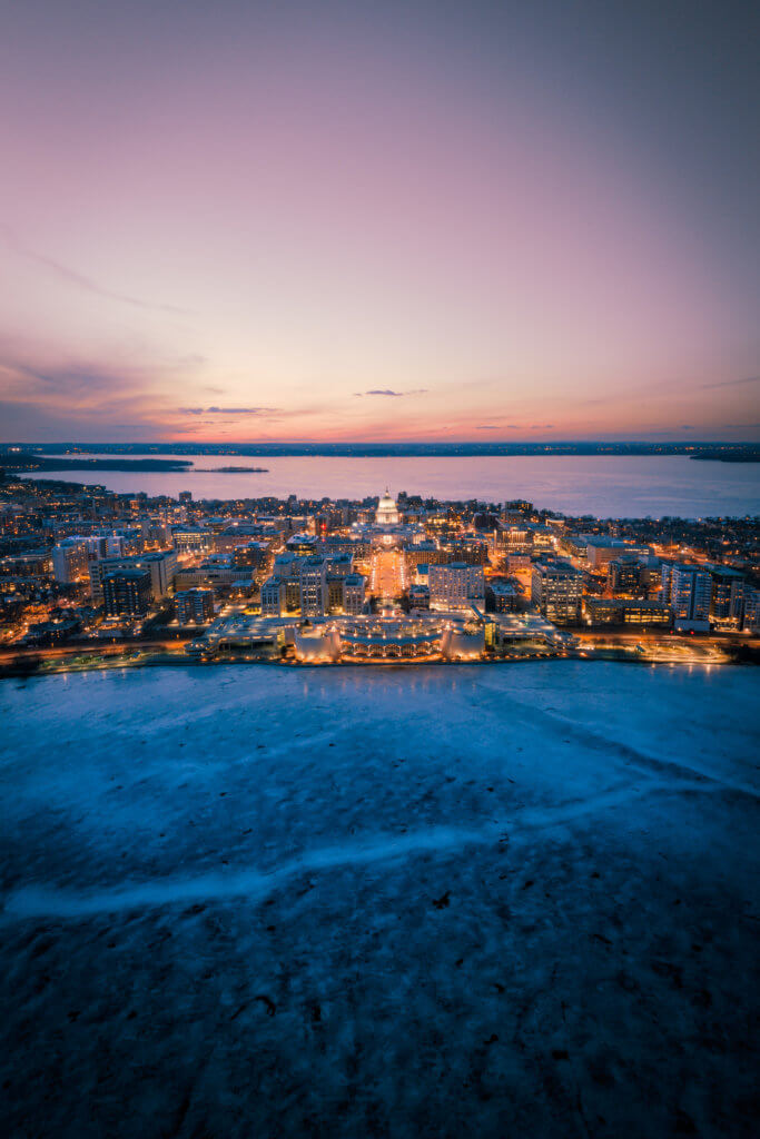 Madison's Isthmus and icy lakes, courtesy Samuel Li